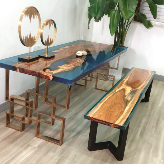 High Quality Solid Wood Crystal Clear Bar Table Top Epoxy Resin Dining