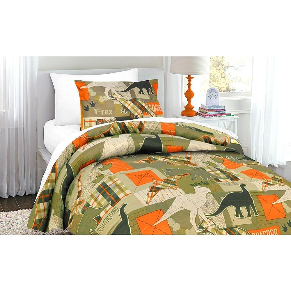 Green Orange Tan Dinosaur Boys Twin Comforter Sham Set 2