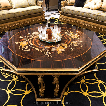 Golden Home Furniture Luxury Glass Coffee Table Wooden Tea Table