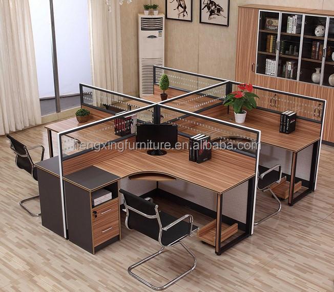 Moderne mobilier de bureau 4 personne bureau poste de for Bureau 4 postes de travail