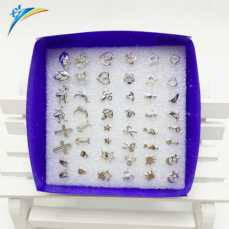 Fashion 24pairs earring set silver anti allergy plastic stud earrings