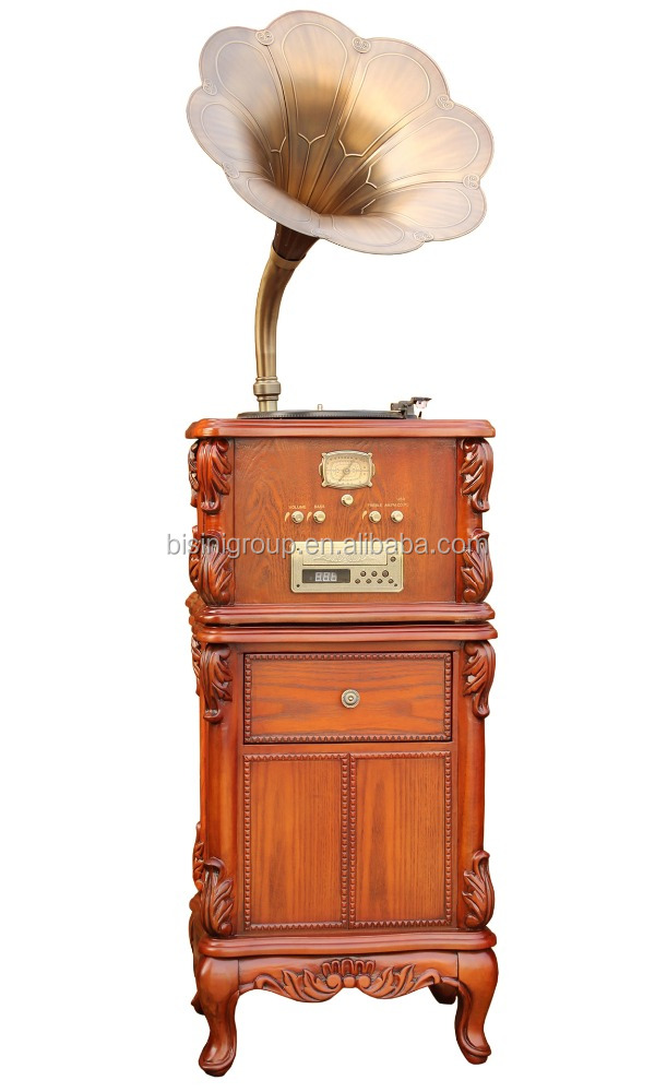 Solid Wood Replica Gramophone Player Turntable Vinyl Record Player With Brass Horn
