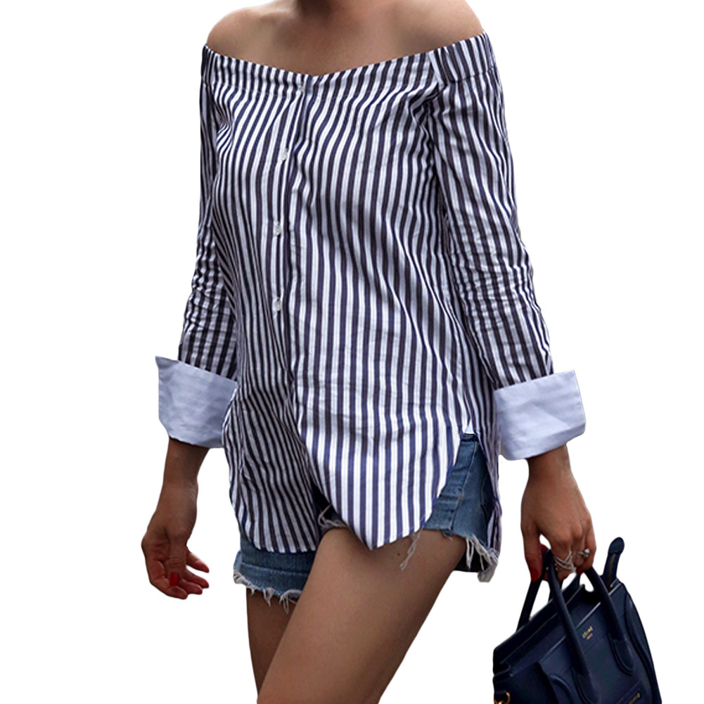 Blouses & Shirts Ishowtienda Fashion Shirts Women Blouses Women  S Tops Casual Half Sleeve Off Shoulder Bandage Stripe Printed Tops Haut Femme Strong Packing
