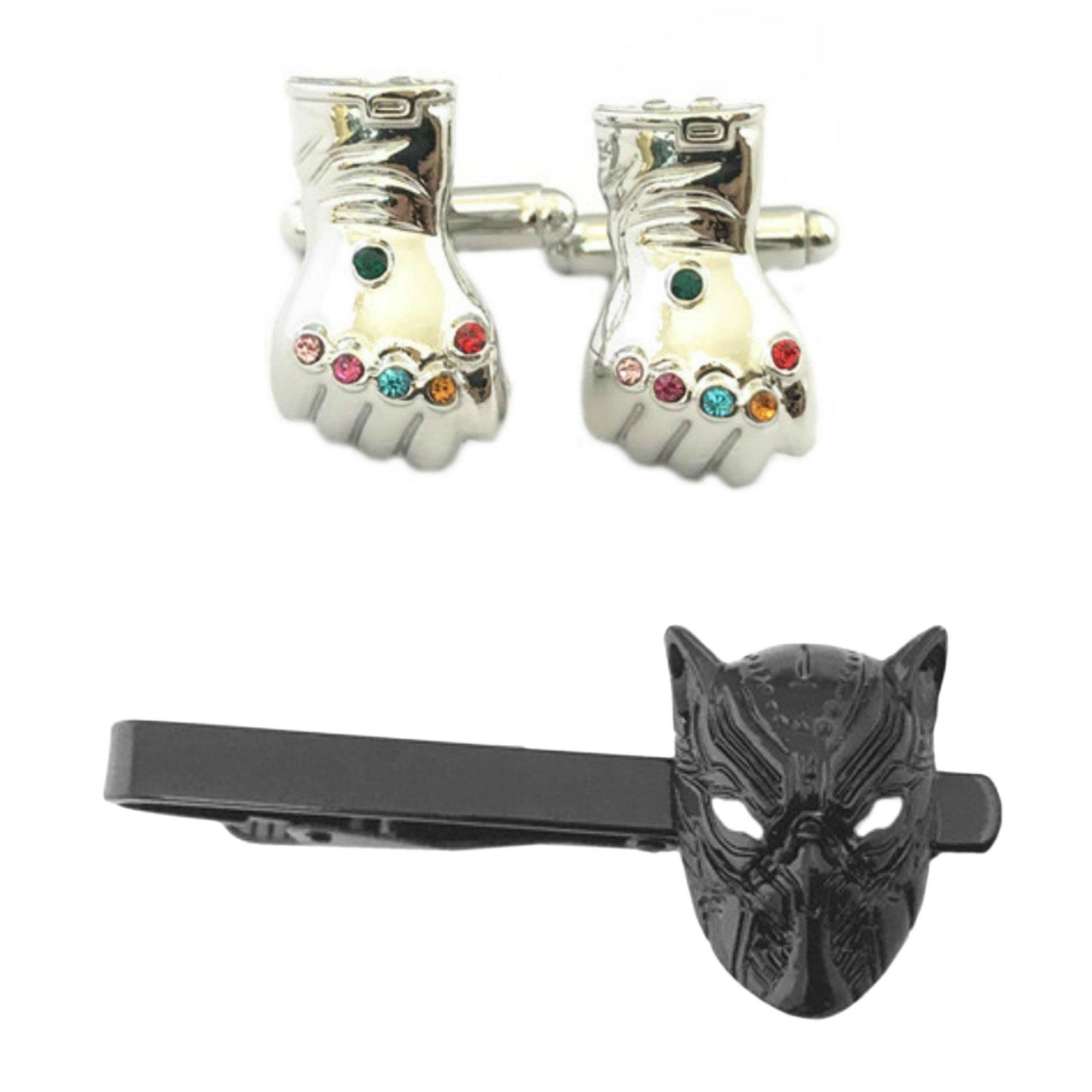 Outlander Thanos Cufflink & Killmonger Black Tiebar - New 2018 Marvel Studios Superhero Movies - Set of 2 Gift Set Wedding Logo Novelty Jewelry Series w/Gift Box