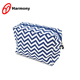 Popular design lady's blue and white chevron cosmetic bag