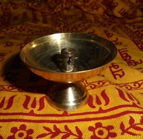 Artcollectibles India 2 Vtg Brass Diya Akhand Jyot Hindu Havan Religious Item Aarti Diwali Puja Kuber