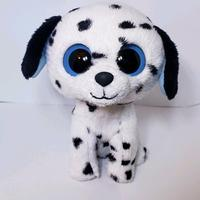 high quality new custom animal puppy white black dog soft plush stuffed beanie babies
