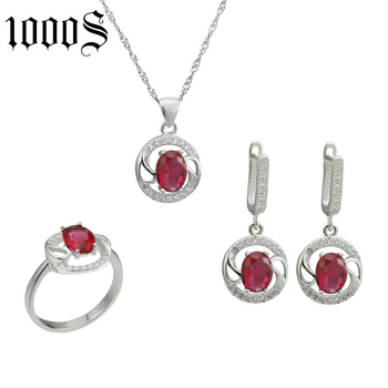 rhodium plating 925 sterling silver round shape jewelry set for party