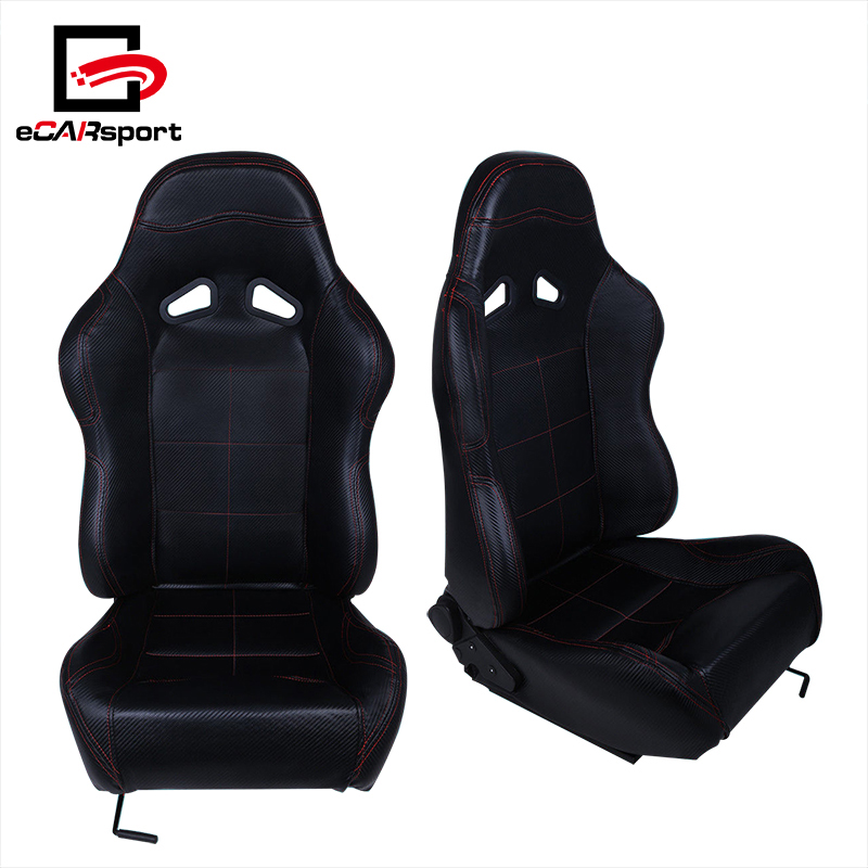 Passenger//Right Side Woven Fabric Cloth Adjustable Sports Style Black Trim /& Red Stitch Racing Seat