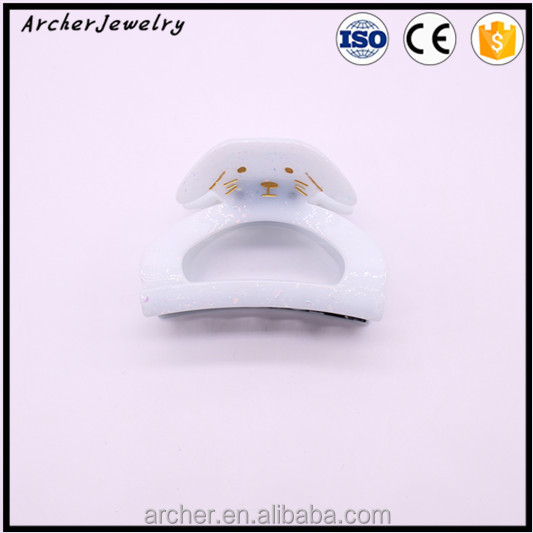 Plastic lovely white puppy decorative hair claw in hairgrips HA-819
