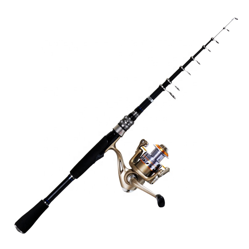 Carbon telescopic spinning fishing rod and reel combo set for lure fishing, N/a
