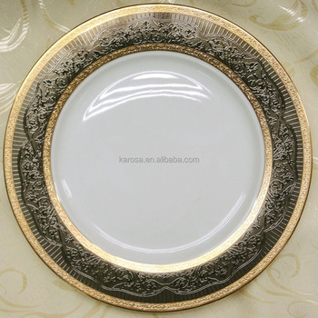 Dinner Plate With Embossed Gold Decal