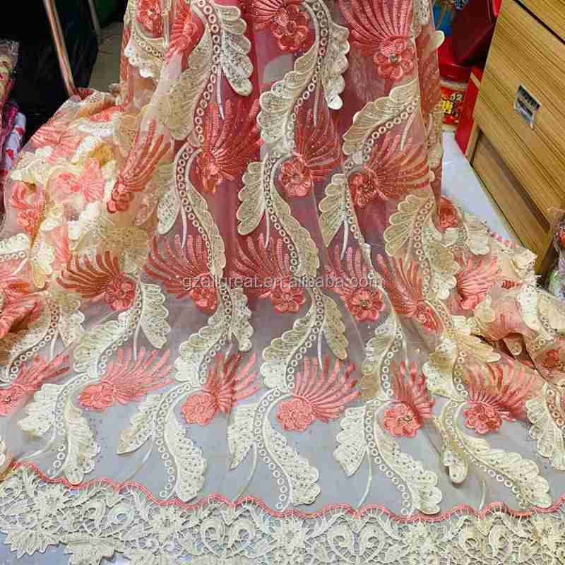 AL2445 embroidery lace fabric wholesale tulle net lace fabric