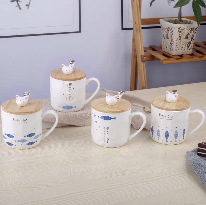 380ml Hot Selling ceramic mug Concavity creative cat mug fish with bamboo lid spoon фото