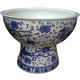 Large HAND PAINTED Blue And White Porcelain Pedestal Ceramic Fish Bowl Fish Pots