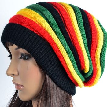 Unisex Fashion Knit Rasta Crochet Slouchy Tam Bob Marley Reggae