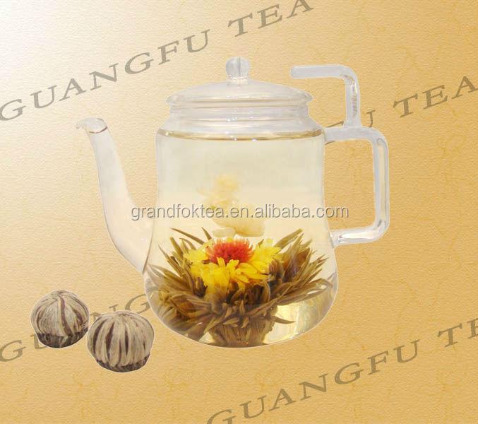 Man Tian Xian Tao Blooming tea high Silver needle with Gomphrena globosaa Marigold and Jasmine flowers - 4uTea | 4uTea.com