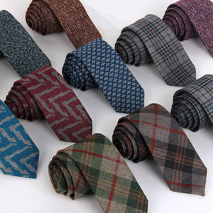 11 Colors Woven Wool Tie Men 6 cm Slim Skinny Narrow Linen Plaid Necktie Cashmere Gravata Wedding Party Gift