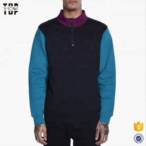 New fashion vintage style mens half zip mock neck color block sweatshirt