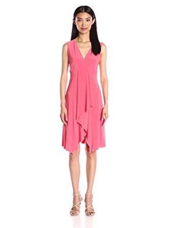 fc99a71eff6b Get Quotations · Star Vixen Women's Sleeveless Empire Waist Cascade Tulip  Skirt Short Ity Knit Dress