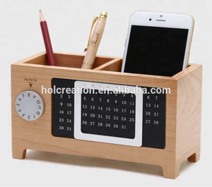 Wooden Multi-Function Calendar Pen Holder Desktop Calendar Desktop Organizer Storage Supplies Multi-functional Solid Wood Barr