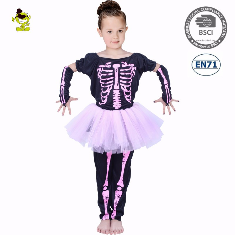 2018 Halloween Kids Pink Skeleton Print Fancy Dress Carnival Party ...