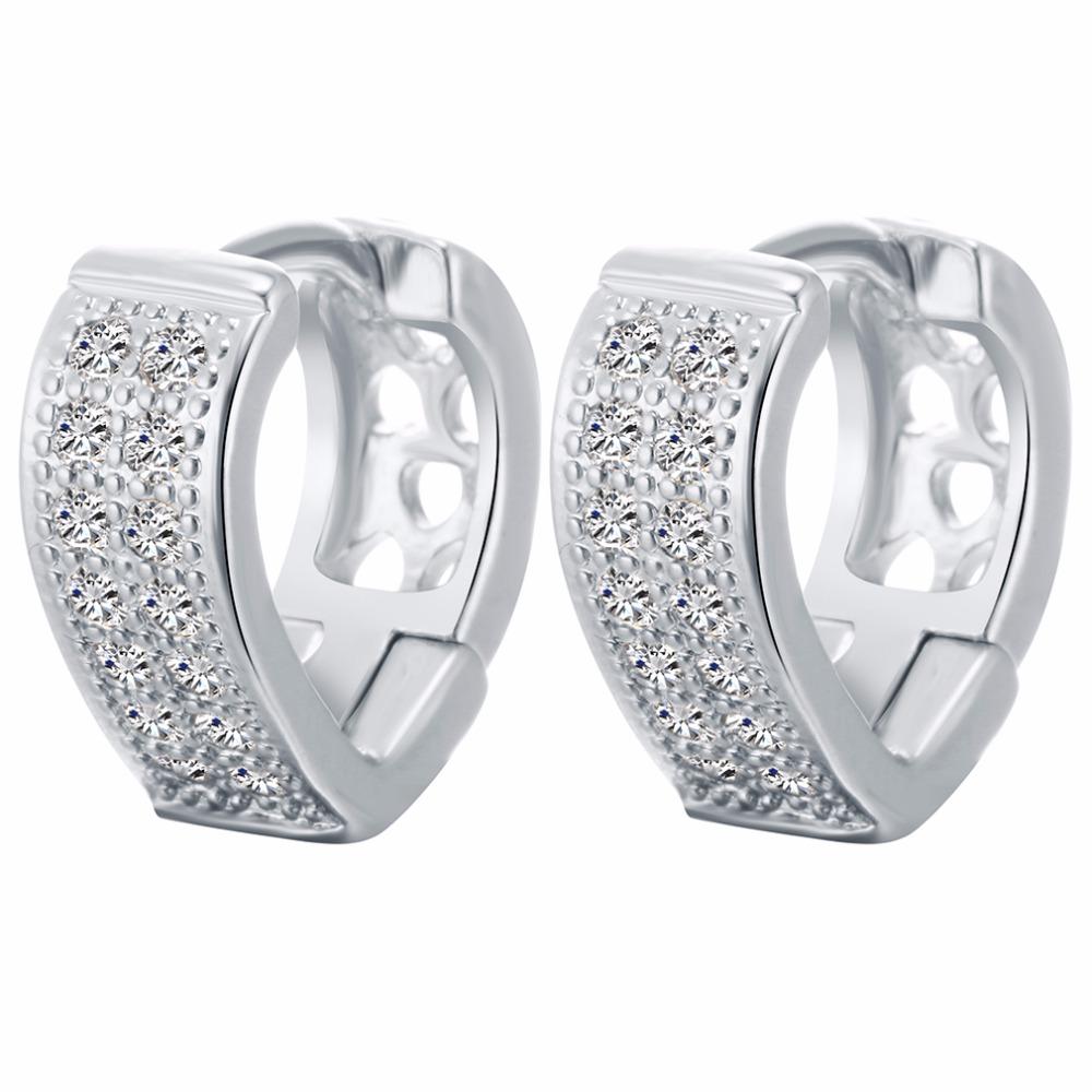 1578cbce8aba49 Kinitial 1Pair New Women Cubic Zirconia Pave Earrings Gold Silver V Shape  Geometric Hoop Earring Jewelry Bijoux Boucles