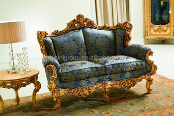Luxurious Elegant Golden Couch Of 2 Seat In Royal European Style With Much Carving
