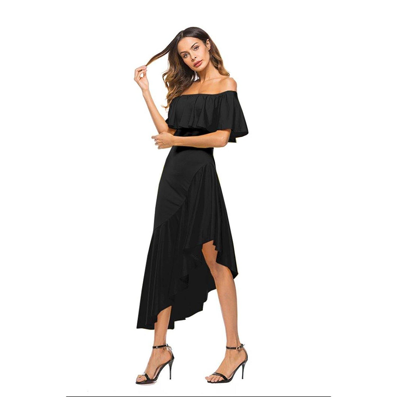 IEason Women Dress Women Dress Off The Shoulder Ruffle Irregular Dress Evening Party Dress