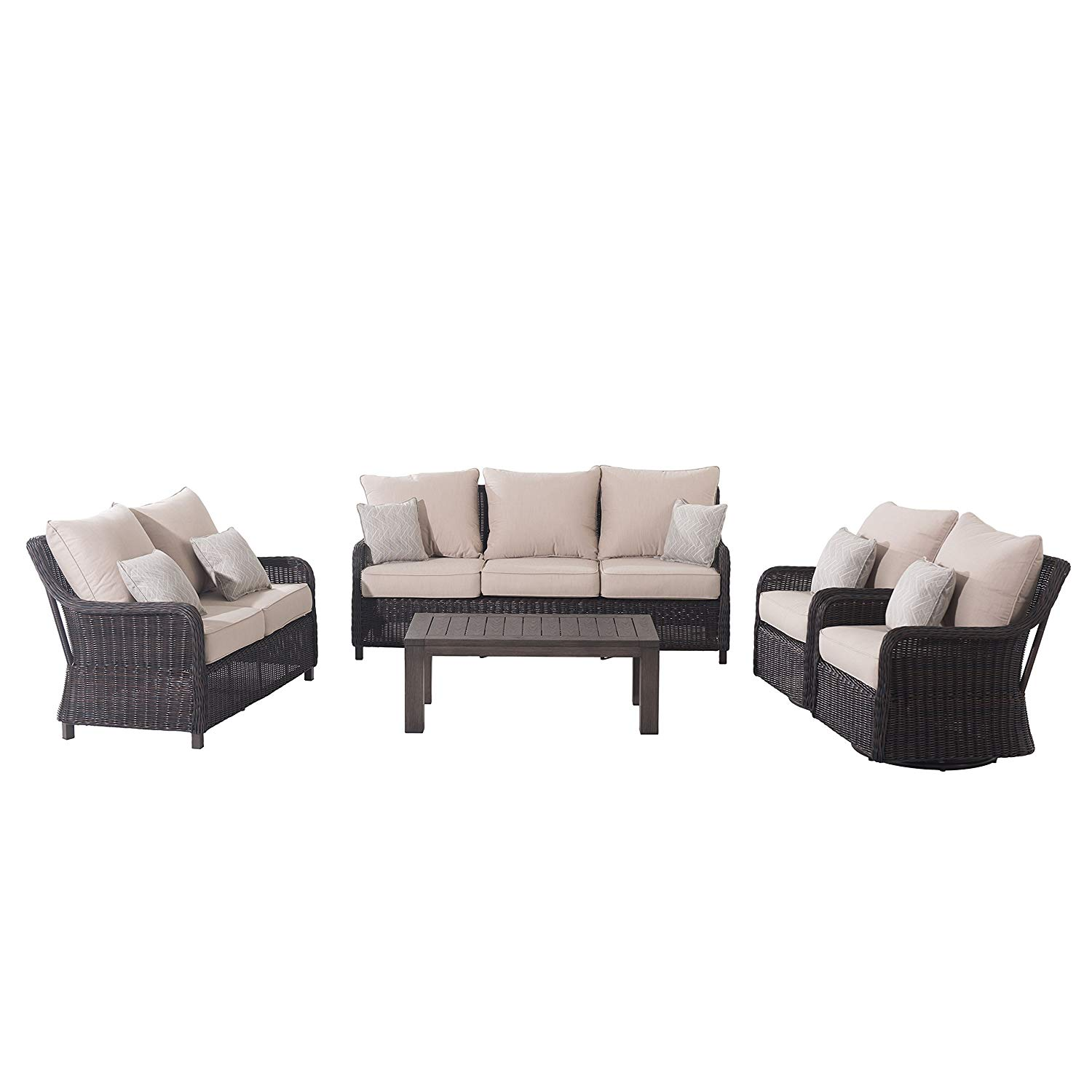 Sunjoy S-DN2205SST-A Dighton 5 Piece Deep Seating Set, Brown and Beige