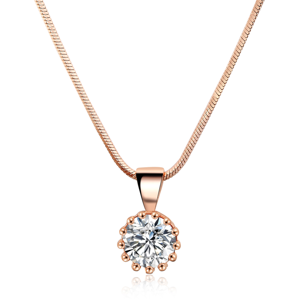 Top Quality Classical 18K Gold & White Gold Plated CZ Diamond Pendant Necklace Wholesale For Women N390 N391 фото