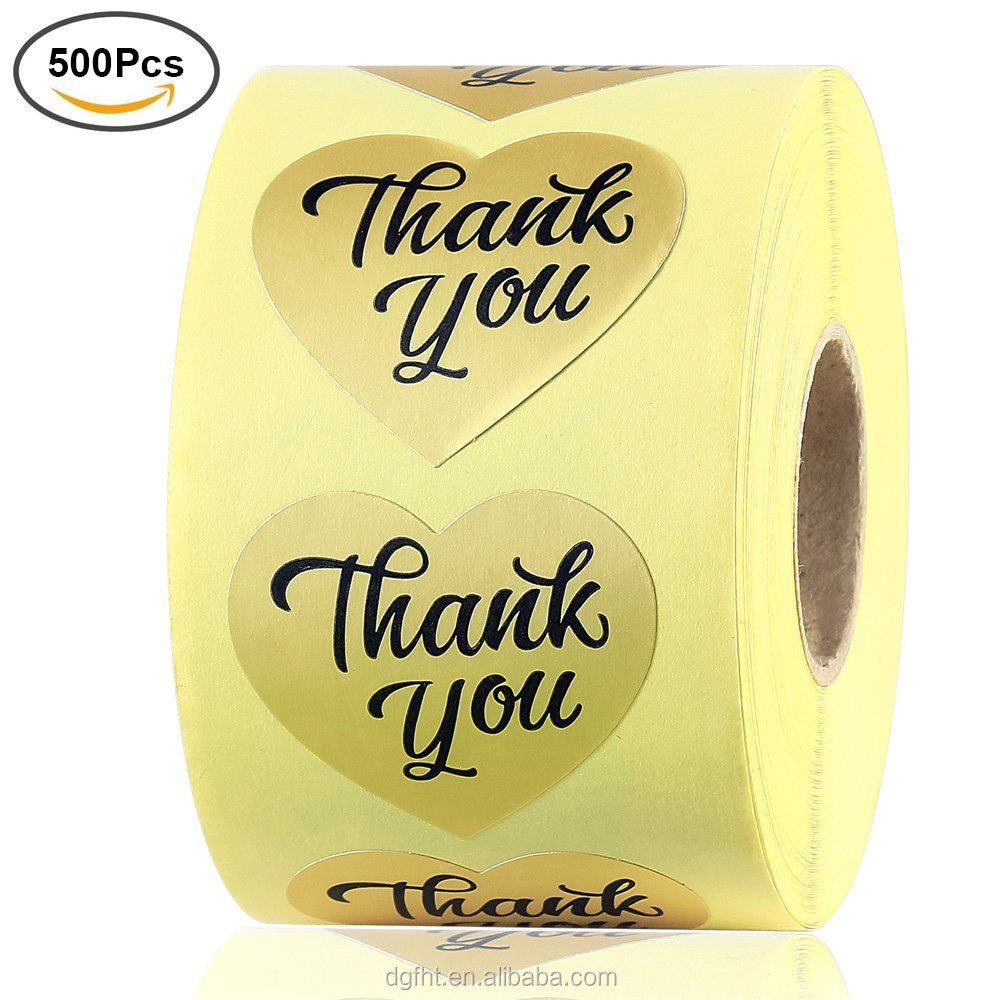 "2018 Factory Custom Gold Foil Thank You Sticker Label Decorative Sealing Sticker, 500 Stickers 1.5"" Love Heart Shape (1 Roll)"