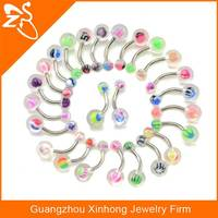 Fake Tongue Piercing Stainless Steel Industrial Barbells UV Ball Barbell Tongue Ring