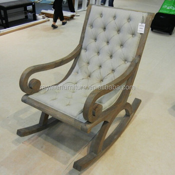 French Style Hot Sale Linen Upholstered Antique Wooden Rocking