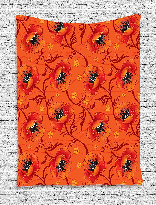 Burnt Orange Decor Tapestry Wall Hanging By Ambesonne Elegant Chic Poppy Flower Series Blossom Romance