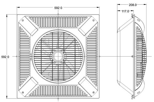 60X60cm Shami KDK 14 inch false ceiling mounted ventilation fan with LED light to Iraq Dubai Pakistan Syria India