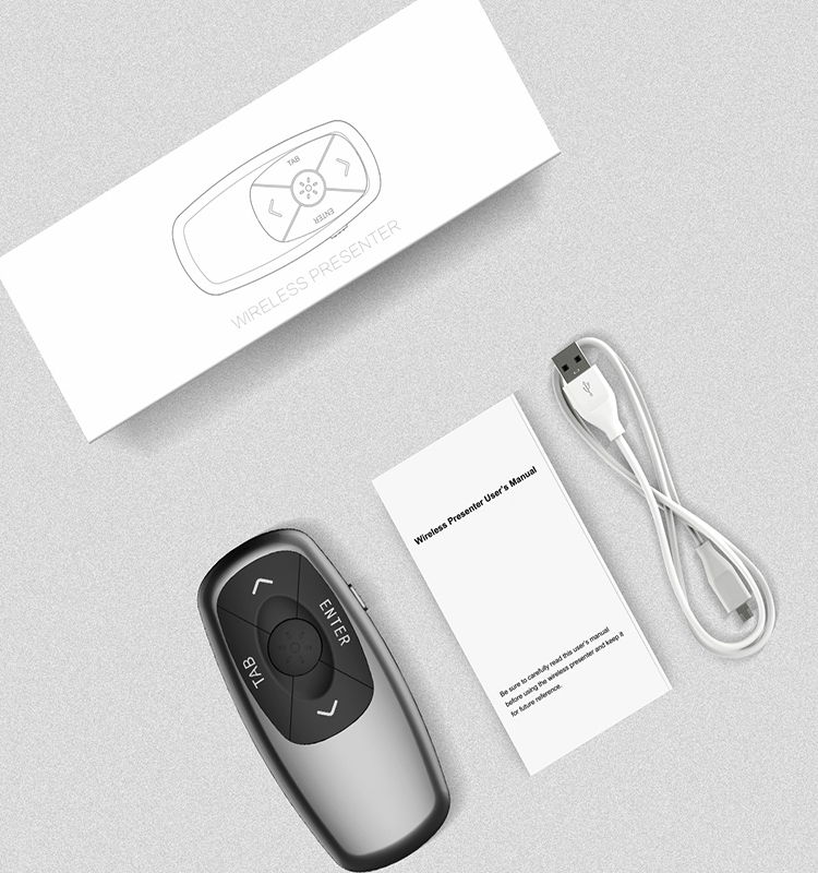 2.4G Logo Wilress Presenter powerpoint slide changer with red RC laser pointer for PPT presentation