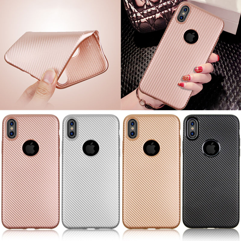 For iPhone X Carbon Fiber Pattern Soft TPU Back Phone Case, 4 Colors Available
