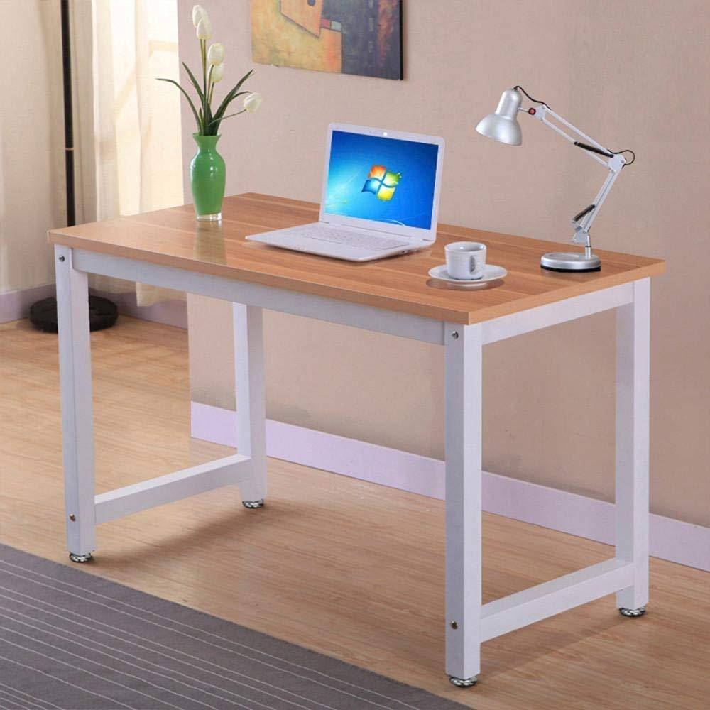 Topeakmart Computer Desk Modern Design Laptop PC Table Rectangular Writing Table Study Home Office Workstation Furniture Brown