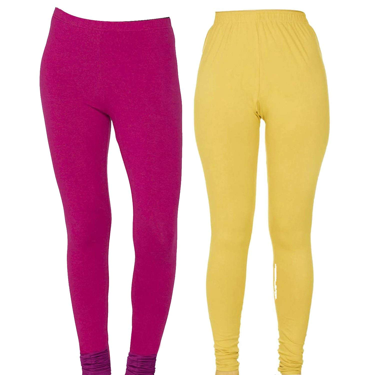 Set of 2 Magenta and Yellow Women's Solid Lycra Fabric Stretchable Workout Yoga Pants Designer Leggings