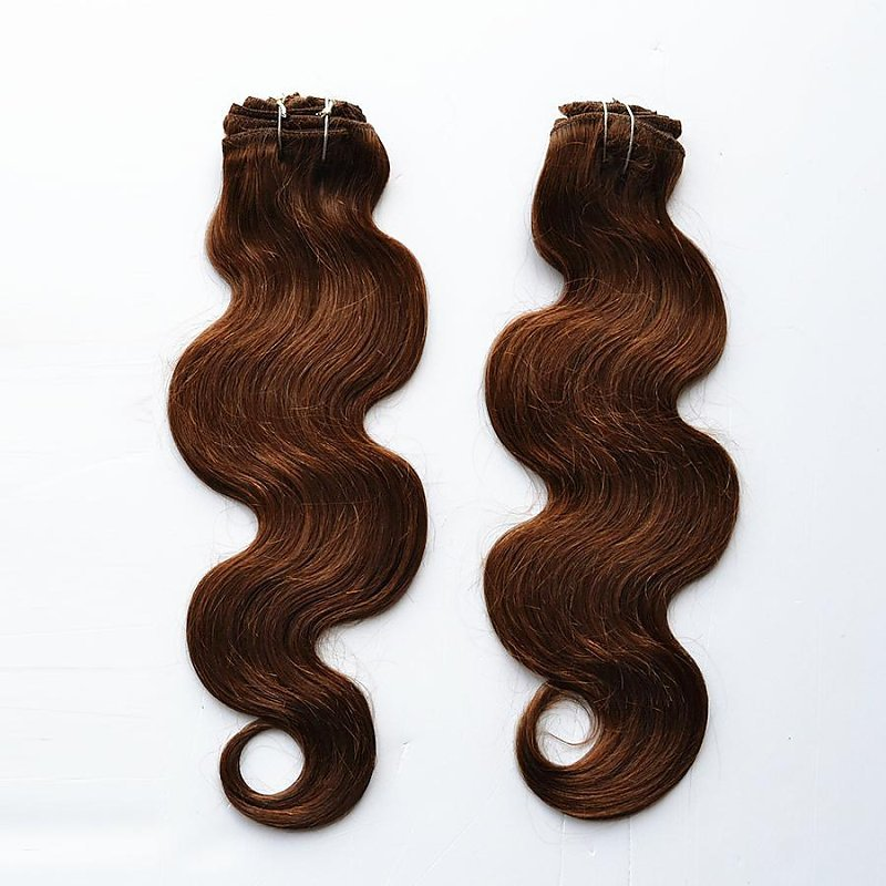"18"" 20"" 22"" 100g Indidan Remy Full Head Wavy Clip in  Human Hair Extension #4 Dark Brown Human Hair Weaving Coffee Color Hair"
