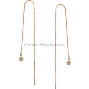 Chic Women S Tiny Star Threaders Delicate Cz Chain Link Needle Drop Earrings