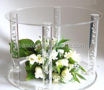Pure Clear Circular Plexiglass Cake Pop Display Stand With 4 Columns ...