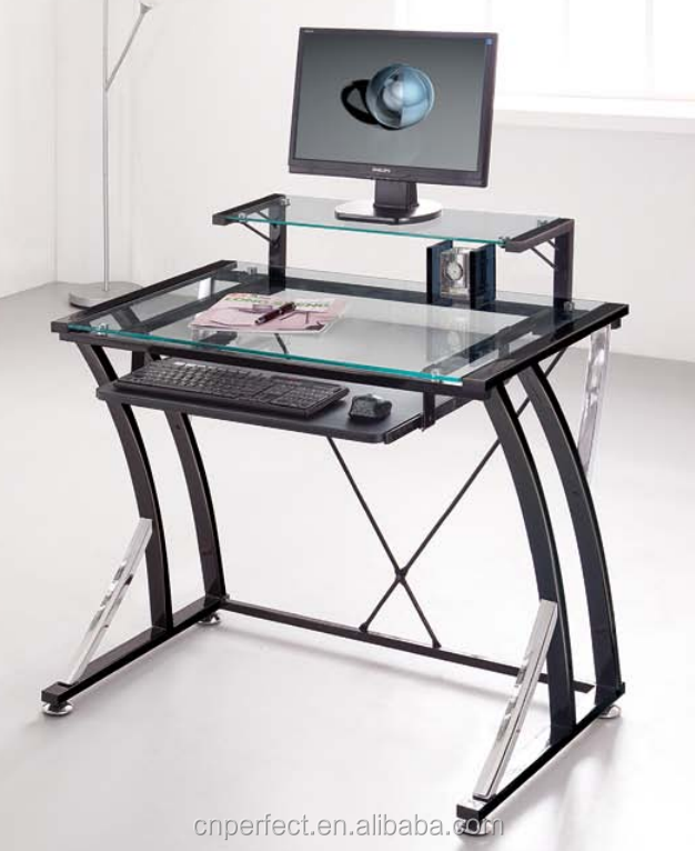 New & Hot Glass Stainless steel computer desk table custom made