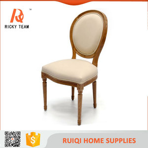 Linen fabric with solid wooden frame dining room chair vintage fabric cafe chair cheap fabric dining chair hot rent
