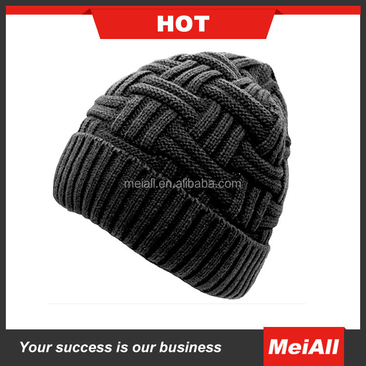 Mens Beanie Knitted Caps Crochet Hats ,Wool Pompons Curling Ear Protect Winter Cool Casual Cap