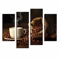 LK4108 4 Panel Brown A Cup Of Coffee And Coffee Bean Wall Art Painting Pictures Print On Canvas Food The Picture For Home Modern