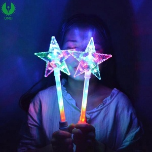 Colorful Factory Plastic Led Light Up White Super Star Princess Wands Led Flashing Stick