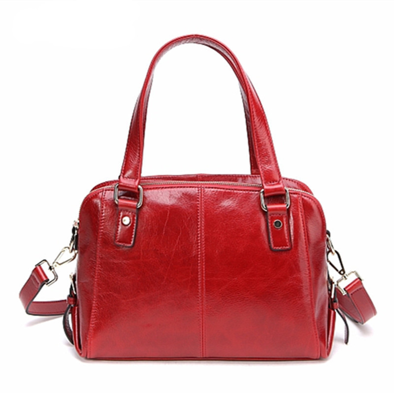 Famous Brand Genuine Leather Women messenger bags fashion large designer handbags ,Red Solid Oil wax Cowhide shoulder Totes