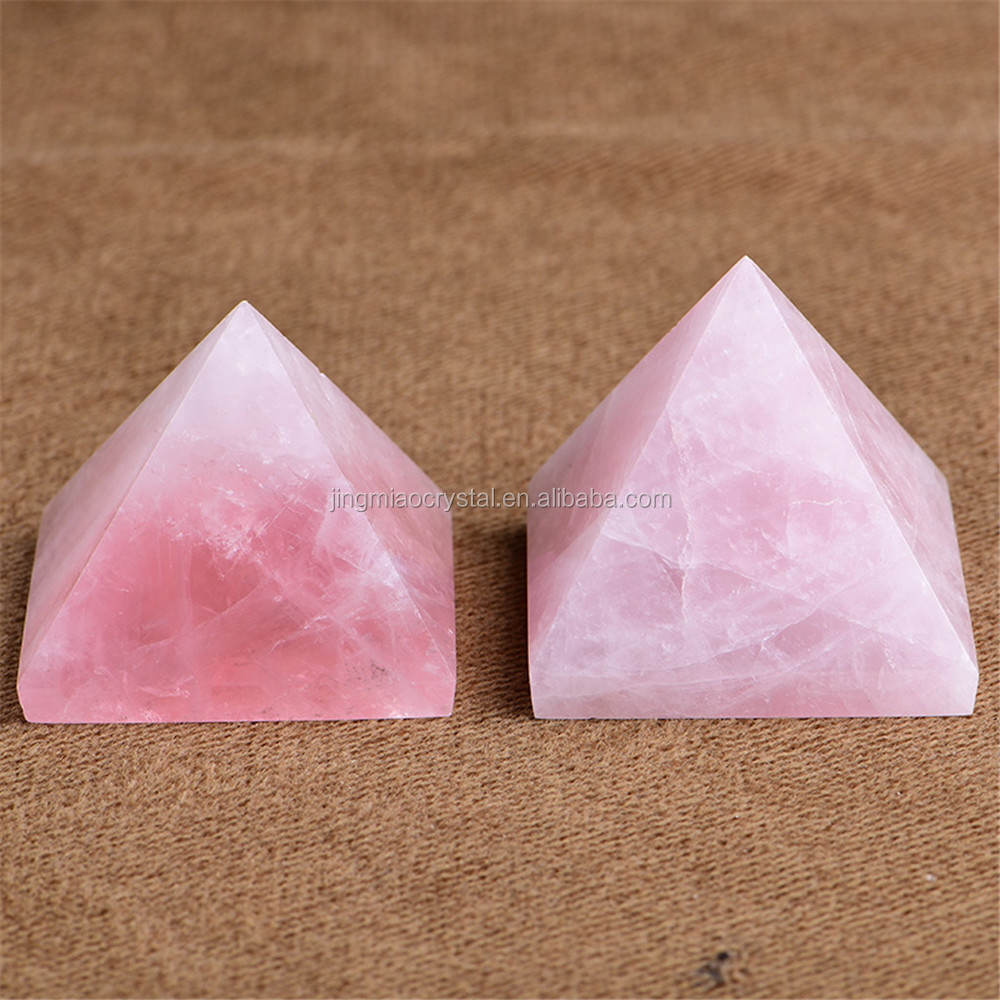 Natural pink quartz white Crystal stone Healing Pyramid